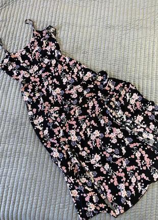 Платье в цветочный принт, миди, макси с разрезами и баской, сарафан на тонких бретелях