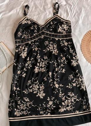 Чёрно-белое платье-сарафан в цветочный принт из натурального хлопка next (размер 42-44)