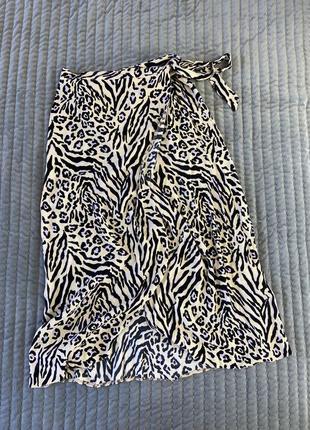 Леопардовая миди юбка на запах, new look юбка анималистический принт