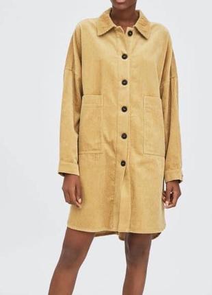 Удлиненная вельветовая рубашка пальто zara