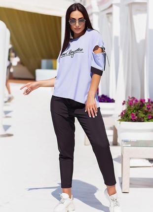 🌼костюм  🌷свободная блуза и брюки, до 62 р-ра, 00180/212, 💐лаванда
