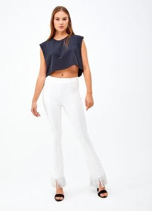 Новые белые штаны с бахромой, брюки zara