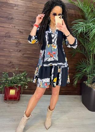 Женское легкое платье, черное платье, летнее платье, короткое платье, (арт100313)