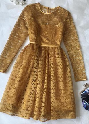 Желтое нарядное кружевное платье asos