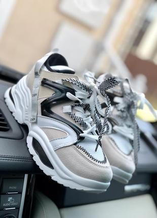 Бежевые крутые кроссовки/посл размеры/распродажа