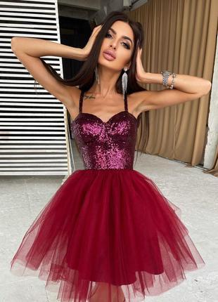 Платье-бюстье с пайетками и пышной фатиновой юбкой  бордовый4 фото
