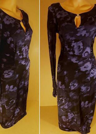 Вечернее платье ghost. длинное черное платье на хэллоуин. платье цветочный принт акварель