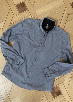Мужская рубашка smog, xl, slim fit длинный рукав клетка, в клетку