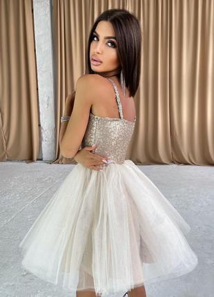 Платье-бюстье с пайетками и пышной фатиновой юбкой бежевый3 фото