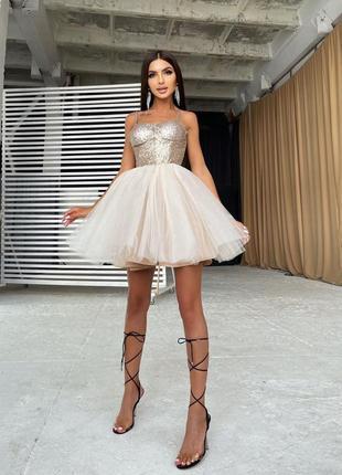 Платье-бюстье с пайетками и пышной фатиновой юбкой бежевый4 фото