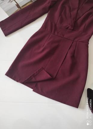 Платье пиджак вечернее бордовое марсала boohoo m3 фото