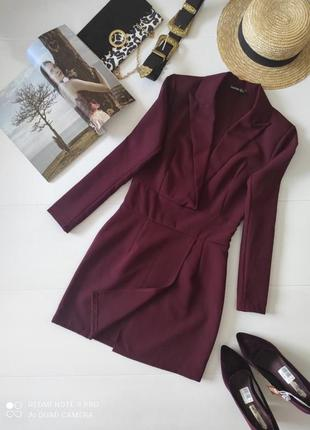 Платье пиджак вечернее бордовое марсала boohoo m