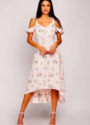 Новое нежное розовое платье миди с ассиметричной юбкой в актуальный цветочный принт