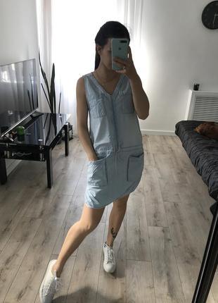 Джинсовое платье сарафан летний