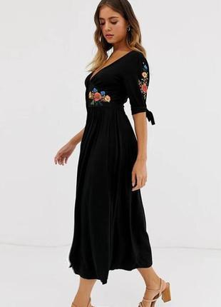 Распродажа натуральное платье asos миди с вышивкой на пуговицах