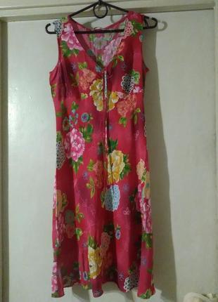 Платье миди трапеция колокол а силуэт сарафан прин цветы красное