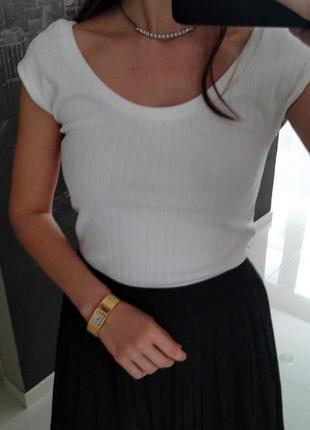 Белая блуза молочного цвета в рубчик без рукавов lindex s-m
