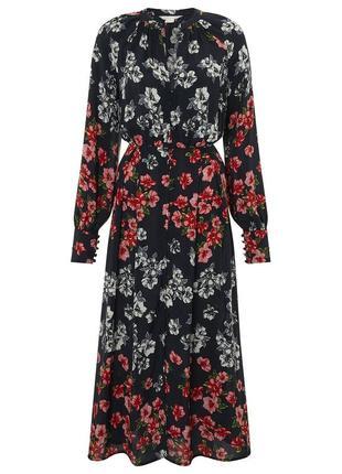 Красивейшее черное платье из 100% вискозы с ярким цветочным принтом