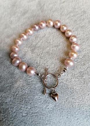 Красивый элегантный стильный браслет из натурального жемчуга с серебром винтажный стиль