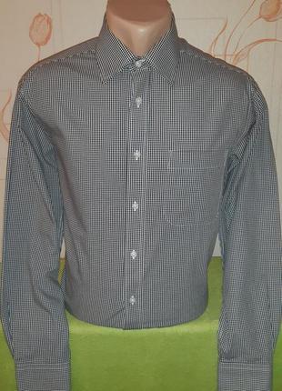 Стильная рубашка в клетку marks&spencer tailoring, pure cotton quick iron
