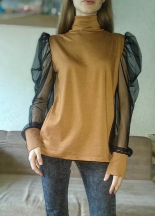 Блуза с объемными шифоновыми рукавами