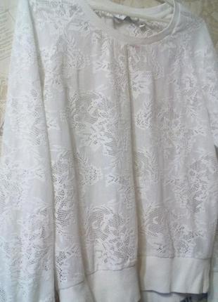 Ажурный белый свитшот свитер