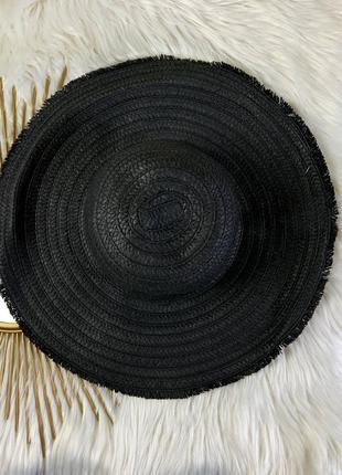 Соломенная шляпка чёрная с широкими полями 🖤