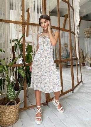 Платье цветочный принт - бежевый