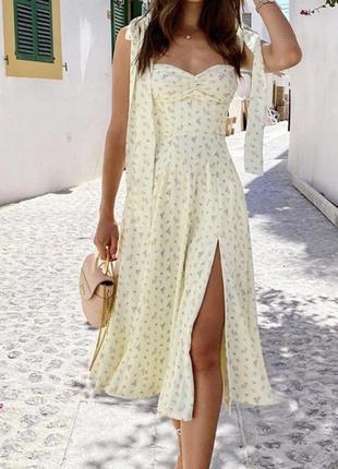 Длинное платье сарафан с выделенными бюстье и разрезом в мелкий цветочек на завязках 🌸🌸🌸