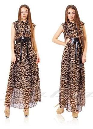 Дизайнерское леопардовое шифоновое платье/плиссе ciel kairo/zara.