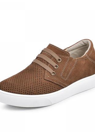 Мужские туфли на плоской подошве на шнурках коричневые натуральный нубук весенние/летние/осенние