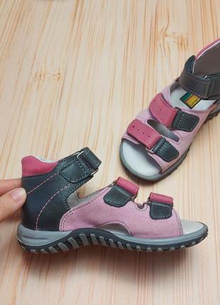 Кожаные ортопедические сандали, босоножки, ортопедичне взуття для дівчинки, детская обувь
