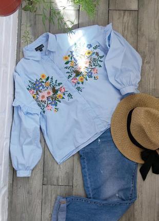 Укороченая рубашка с вышивкой от topshop