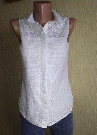 Фирменная блуза прошва, решелье вышивка, р.34,36