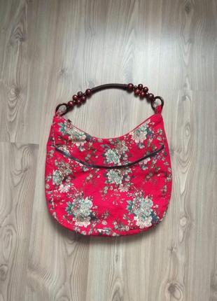 Яскрава легенька сумка-шоппер на підкладі. квітковий принт в стилі етно.