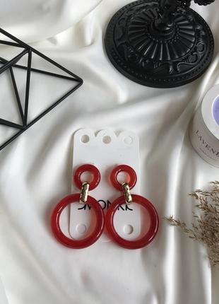 💕акція 1+1=3 стильні червоні сережки , серьги красние от monki 🌿з сайту asos