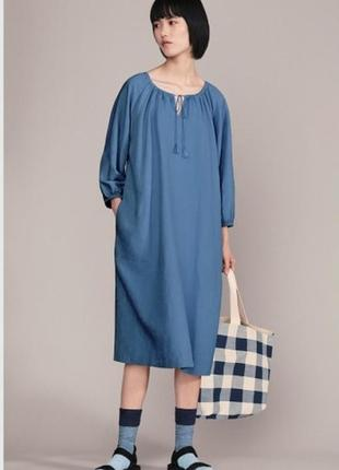 Женское платье оверсайз с рукавами 3/4 льняное jw anderson uniqlo