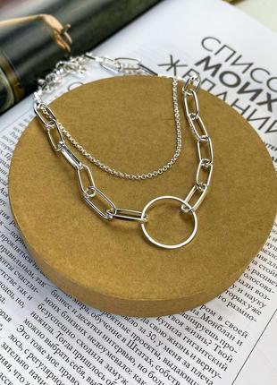 Многослойная цепочка цепь с кольцом чокер колье ланцюжок