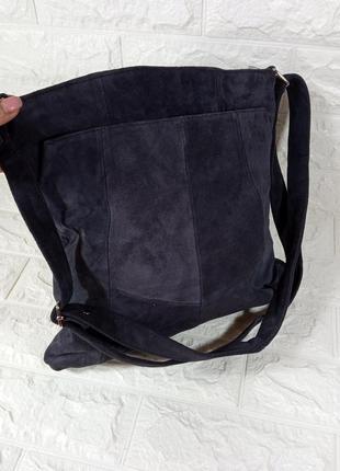 Сумка замшевая, сумка синяя замшевая, сумка синяя кожаная, сумка кожаная, сумка шопер кожаная, сумка через плечо, шопер, классика