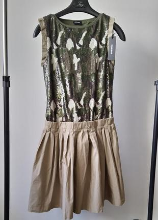 Новое платье diesel в пайетках бежевое хаки камуфляж хлопок нарядное оригинал