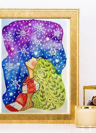 """Картина для інтер'єру """"верба і сніг"""""""