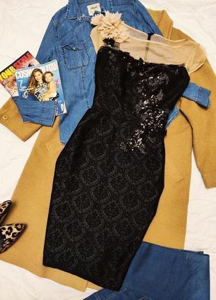 Edressit платье чёрное бежевое с пайетками миди цветочное карандаш футляр
