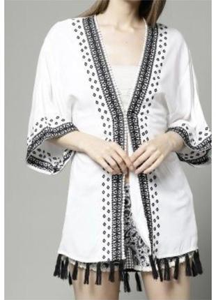 Кимоно накидка летняя/кардиган с вышивкой marks&spencer с кисточками