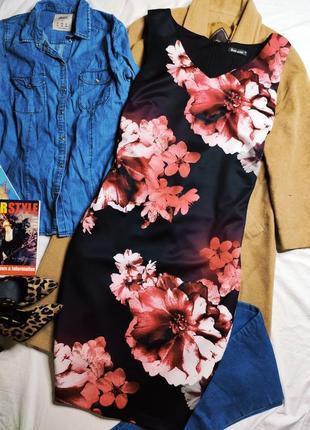 Bonmarche платье чёрное в цветочный принт белый розовый миди большое батал