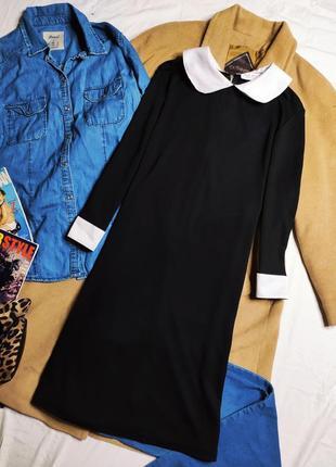 Futura london платье чёрное с белым воротником классическое прямое трапеция рукав 3/4