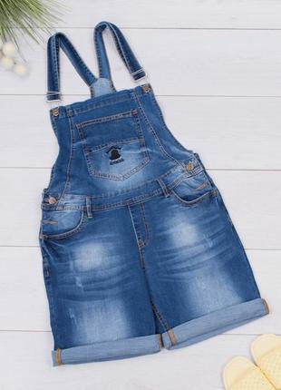 Женский джинсовый  летний комбинезон с шортами