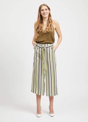 Vila кюлоты брюки бриджи штаны укороченные белые в полоску жёлтые черные с поясом прямые
