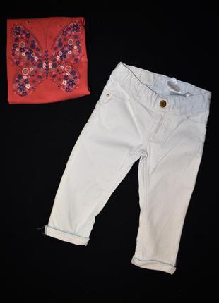 Стильные хлопковые брючки джинсы с ажурными вставками от h&m на 2-3 годика рост 98