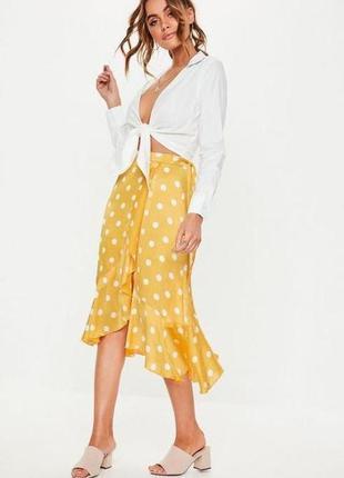 Missguided жёлтая юбка в белый горох с запахом с поясом миди с воланом новая
