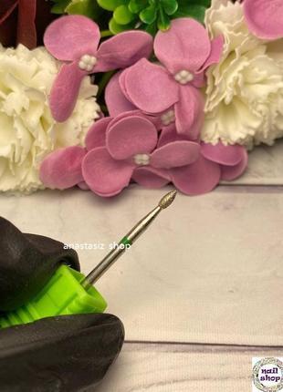 Фреза алмазная почка зеленая (диаметр 2,5 мм, рабочая часть 5 мм)